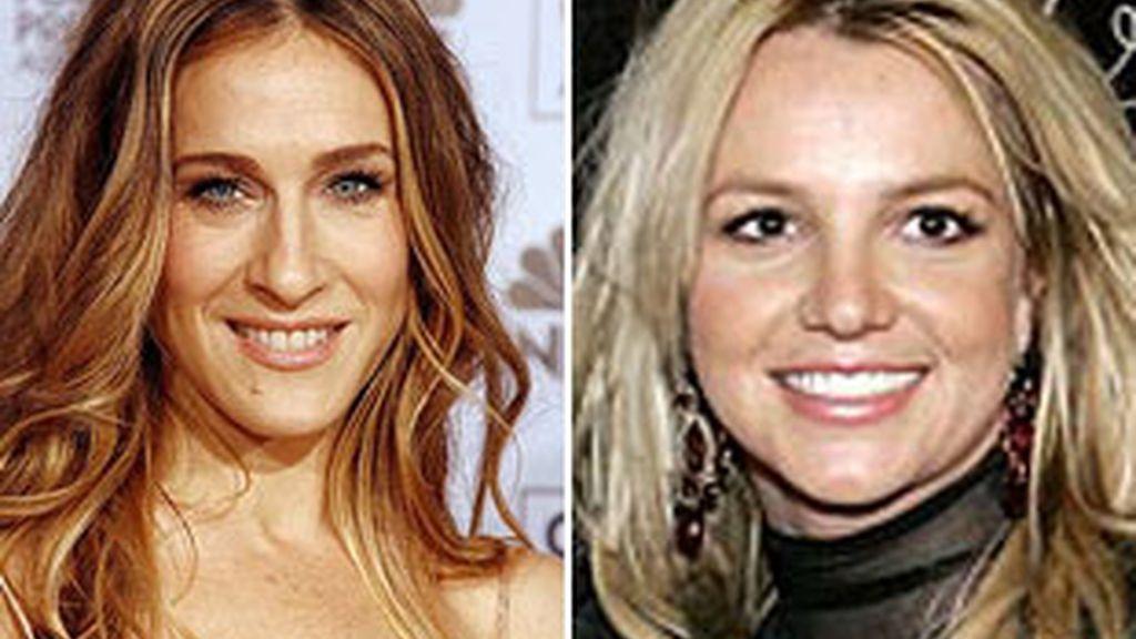 De izquierda a derecha: Sarah Jessica Parker, actriz de 'Sexo en Nueva York,' y la cantante Britney Spears.
