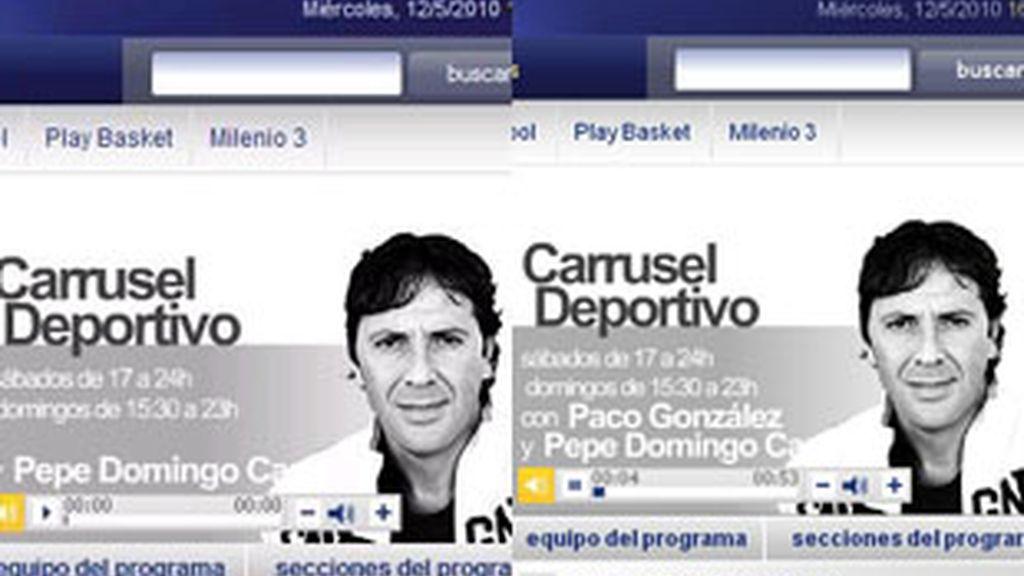 La web de 'Carrusel deportivo', con Paco González fuera y al frente del equipo.