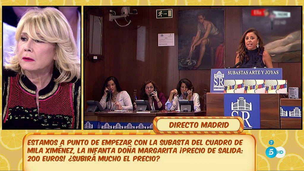 Comienza la subasta de 'Sálvame' con el cuadro de Mila Ximénez... ¡Vendido por 1.100 euros!