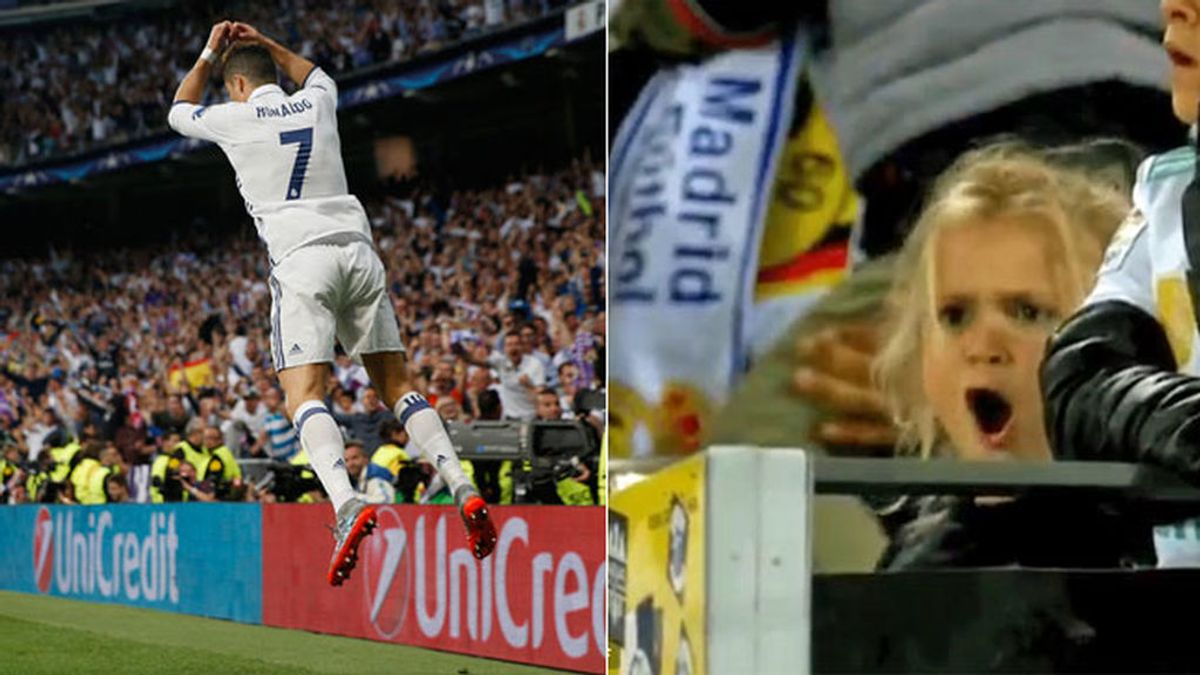 """El GIF de la niña madridista que eclipsó a Cristiano Ronaldo con su celebración: """"Siiiiuuuh"""""""