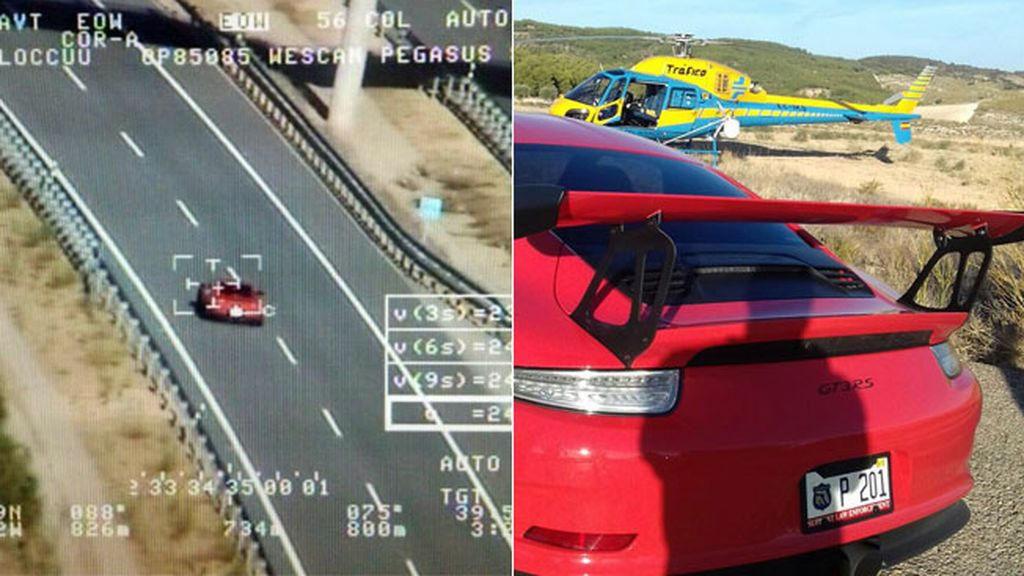 El helicóptero de la DGT 'caza' a un coche batiendo el record de velocidad captado por un radar en España