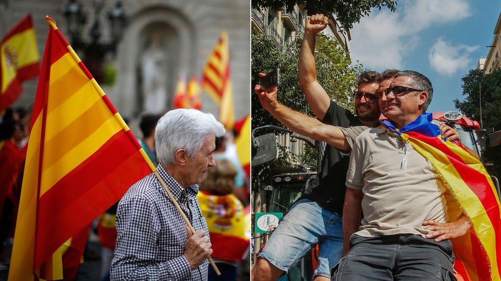 Las banderas dividen España entre el 'sí' y el 'no' a la unidad