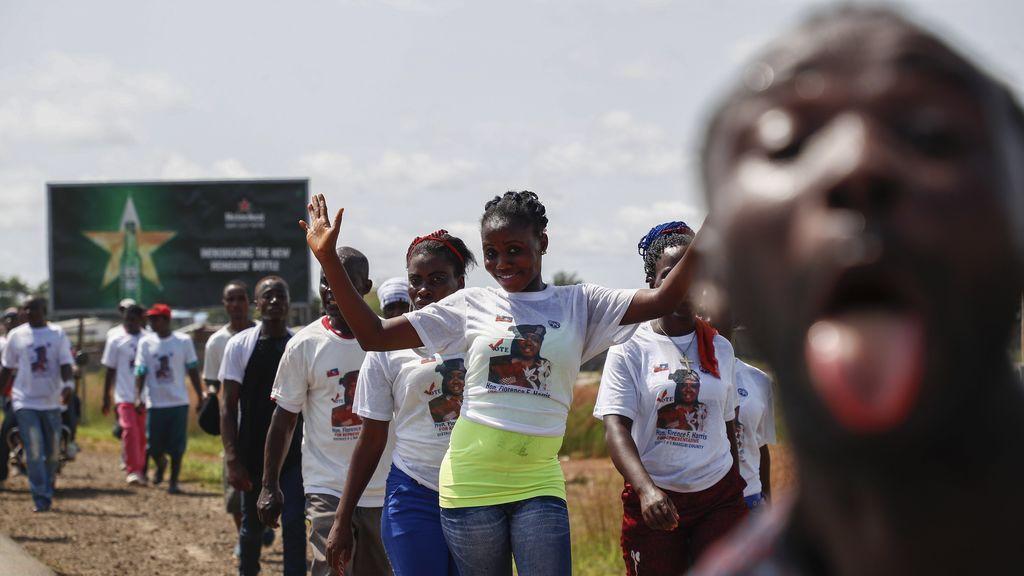 Partidistas liberianos de Florence Harris en Monrovia