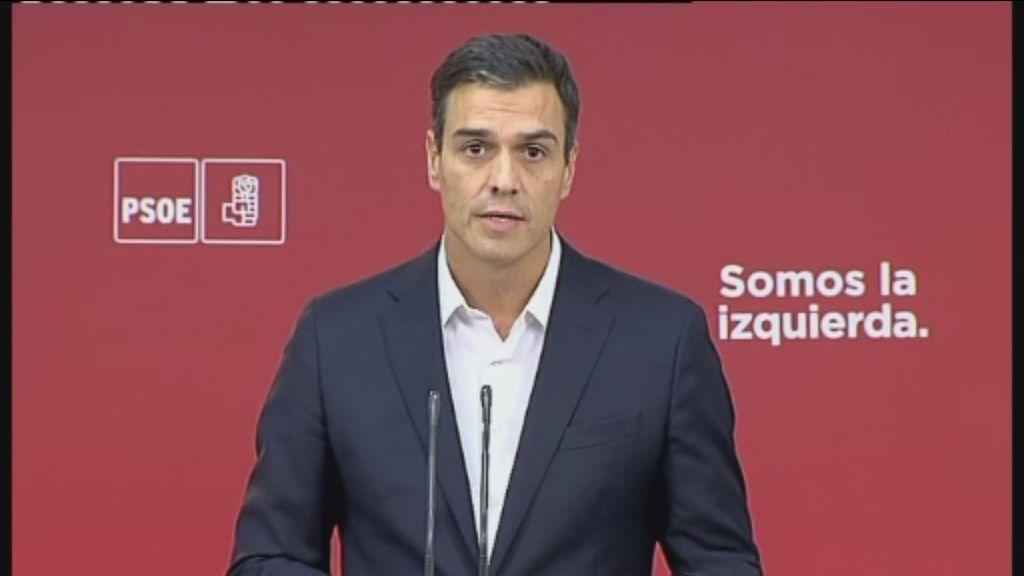 """Pedro Sánchez: """"A pesar de las diferencias con el gobierno de España, el PSOE está con el Estado de Derecho"""""""
