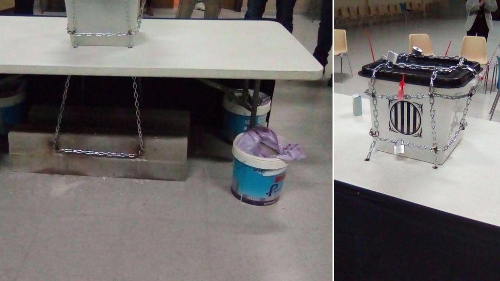 Encadenan una urna a un bloque de hormigón en Montmajor (Barcelona)