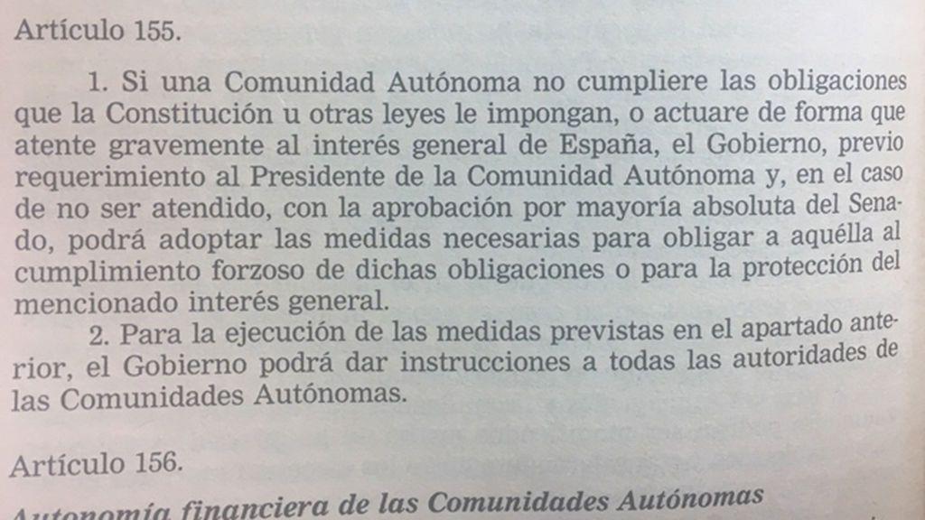 ¿Qué dice el artículo 155 de la Constitución Española?