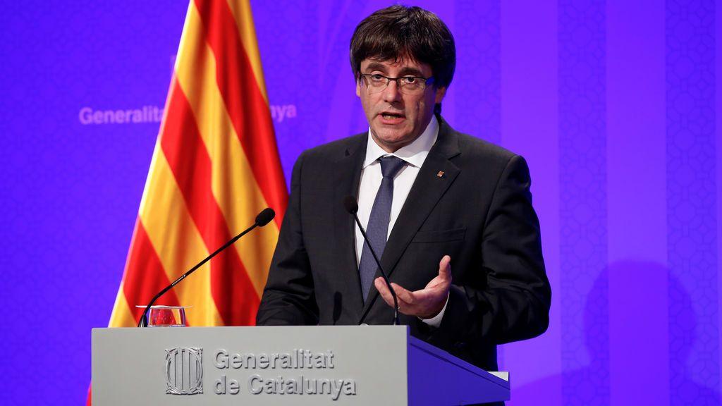Carles Puigdemont en rueda de prensa tras el 1-O