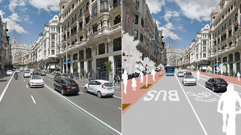 Así será la Gran Vía 'eco': más carriles bici, más árboles y cinco veces menos coches