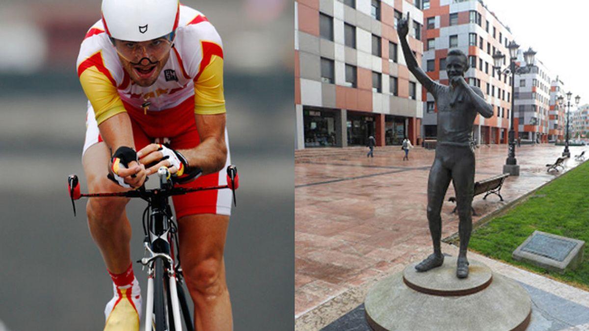 ¡De franquista, a dopada! Piden la retirada en Oviedo de la estatua de Samuel Sánchez, puesta para sustituir al coronel Teijeiro