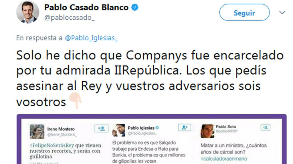 Casado explica su cita a Companys y dice que es Podemos quien pide el asesinato de sus adversarios