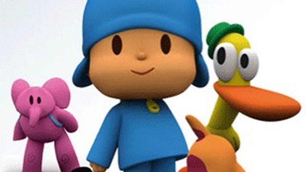 Pocoyó (centro) con sus amigos Eli, Pato y Loula.
