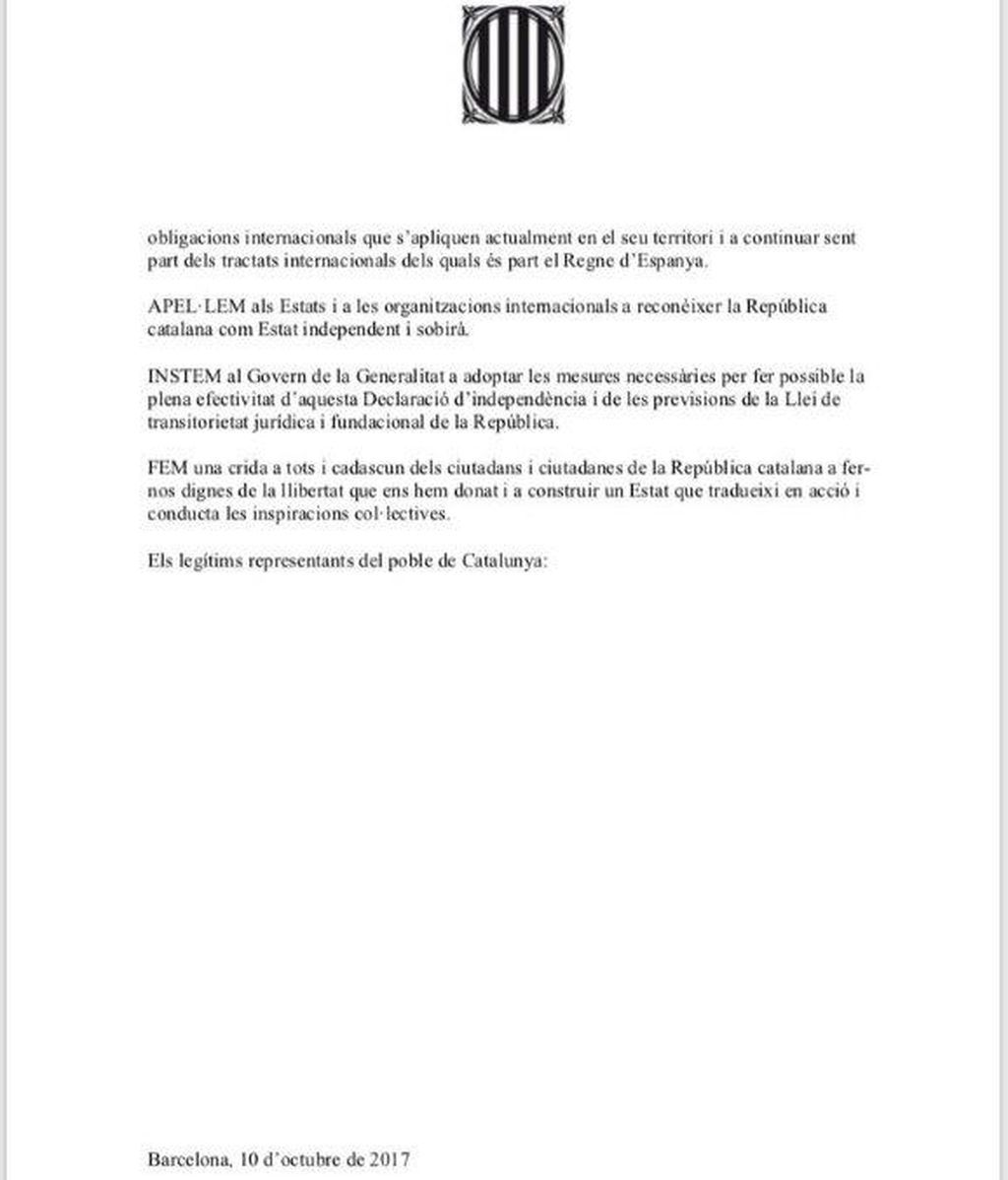Documento que ha firmado parte del Parlament