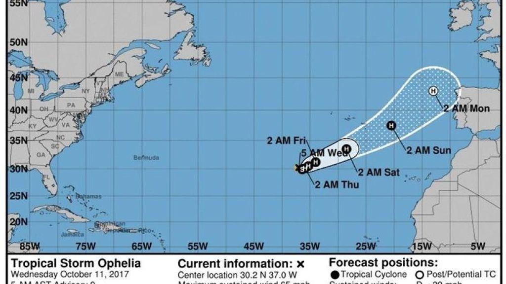 Aviso especial de la Aemet: el huracán Ophelia podría afectar a la costa gallega