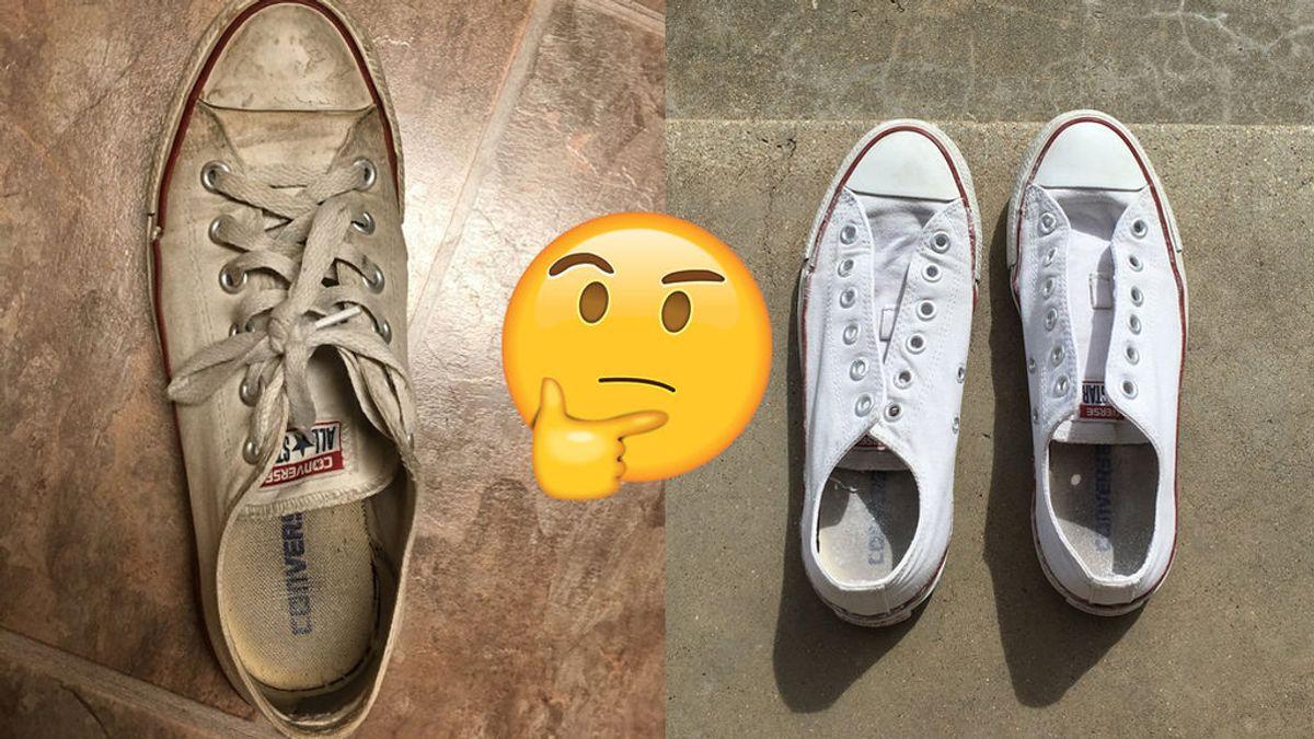 El milagro de una chica lavando sus 'converse' blancas se hace viral… aunque hay quien no se lo cree