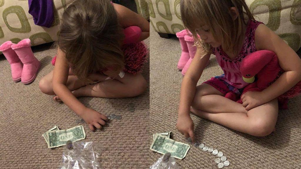 Una niña de cinco años usa sus ahorros en comprar leche para sus compañeros de clase