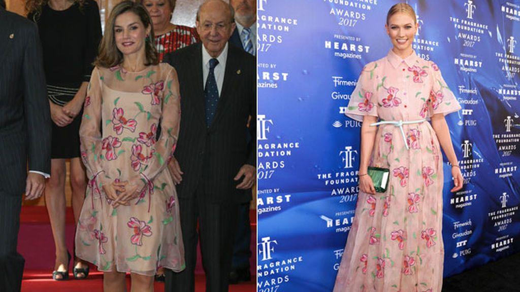 Flores bordadas y mucha transparencia: así es el vestido 'top model' de la Reina Letizia