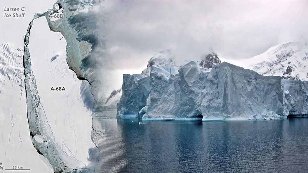 A la deriva: el iceberg A68 deambula por el mar Weddell