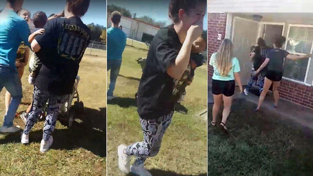 Acosan y golpean a una joven mientras sostiene a su bebé de seis meses en brazos