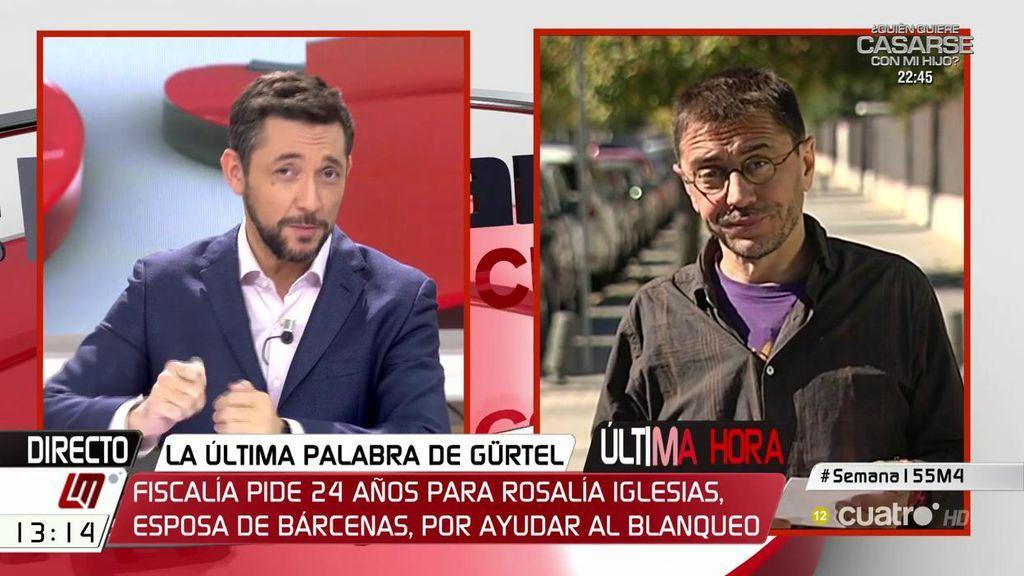 """Monedero: """"Las decisiones que está tomando el PP en Cataluña son una barbaridad"""""""