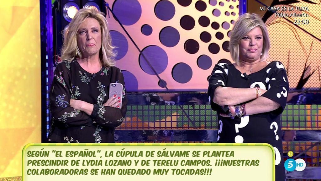 Lydia Lozano y Terelu se enteran en directo de que podrían ser despedidas de Sálvame: su reacción, paso a paso