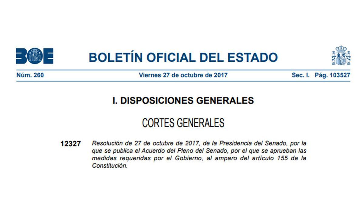 El BOE publica el acuerdo del pleno del Senado para aplicar el 155