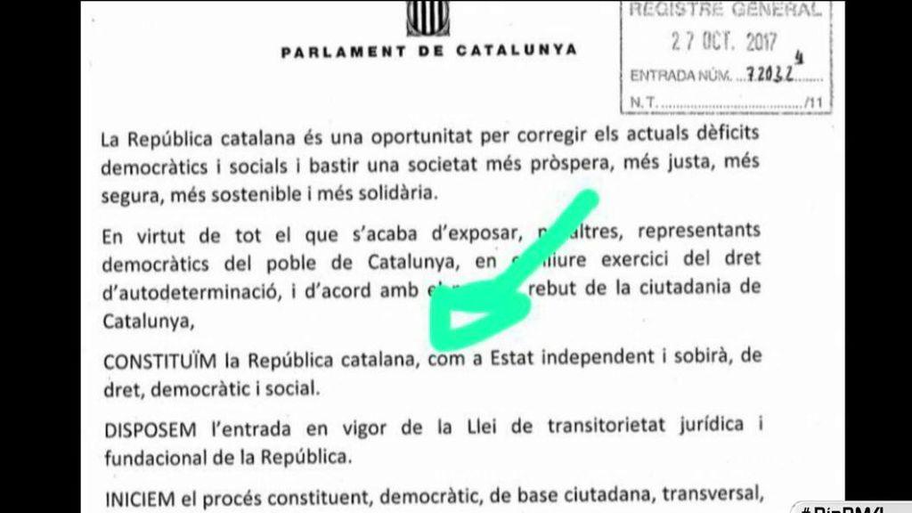 """Última hora: Junts Pel Si  y la CUP proponen declarar """"la República Catalana como Estado independiente"""""""