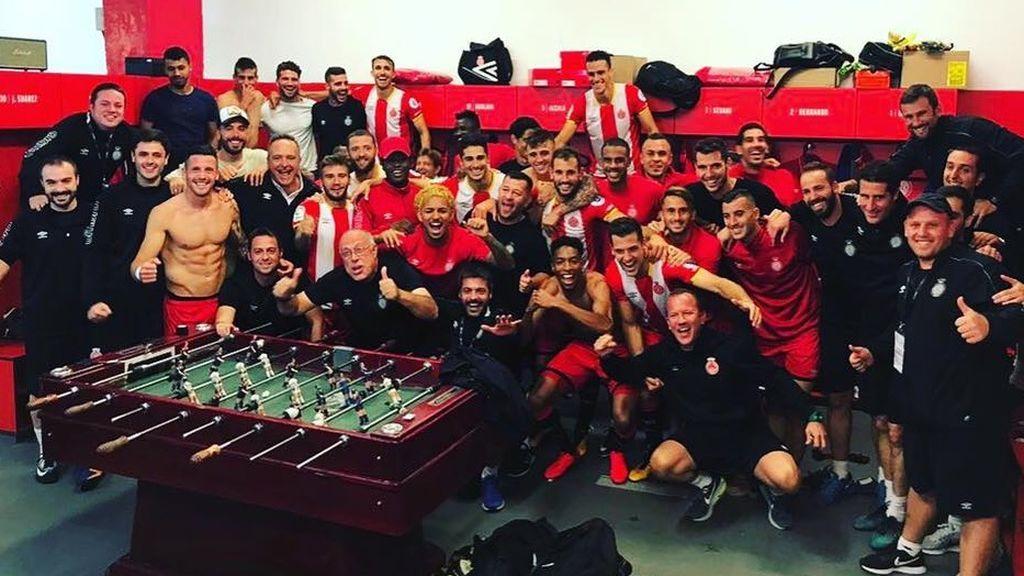 """Así celebró el Girona la victoria frente al Real Madrid: """"Sentiros orgullos, podéis decir que le ganasteis al campeón de Europa"""""""