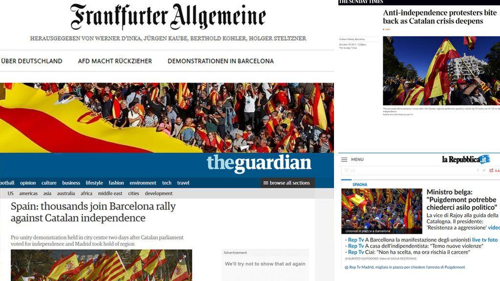 """Los medios internacionales se hacen eco de la """"gigantesca"""" manifestación de Barcelona"""