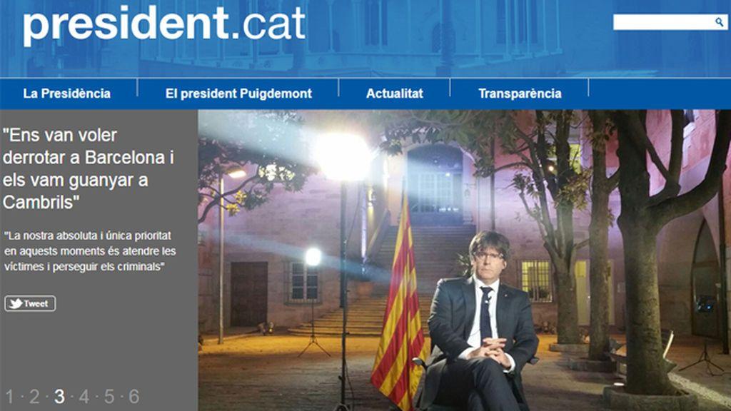 Lanzan la web 'president.exili' tras el cierre de la web del presidente de la Generalitat