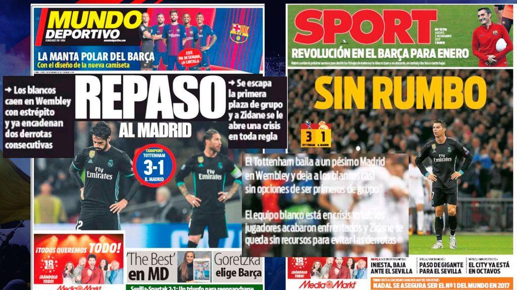 ¡'Crisis' de portada! La prensa de Barcelona habla de 'baile' inglés ante un 'pésimo Madrid'