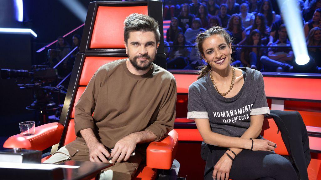 El 'coach' de 'La voz 5' Juanes y su asesora, Bebe
