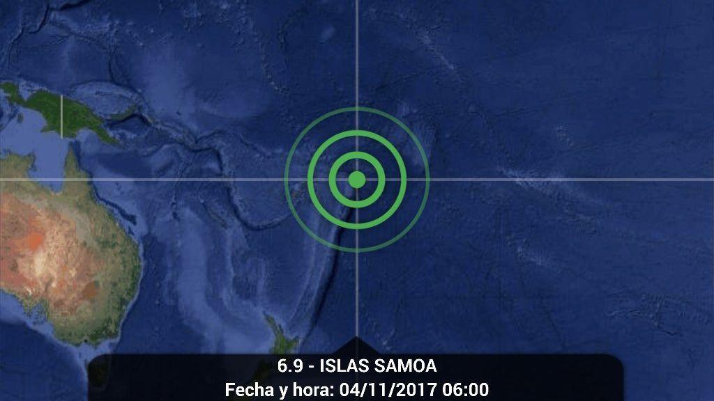 Registrado un seísmo de intensidad 6,9 sin alerta de tsunami a al suroeste de Samoa