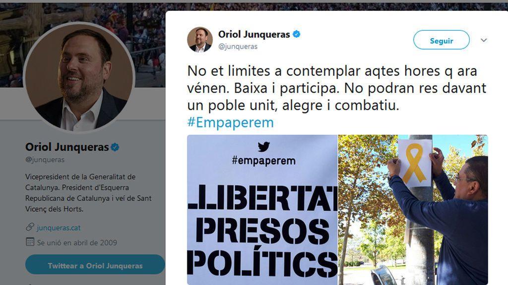 """Junqueras: """"Participa. No podrán nada ante un pueblo unido"""""""