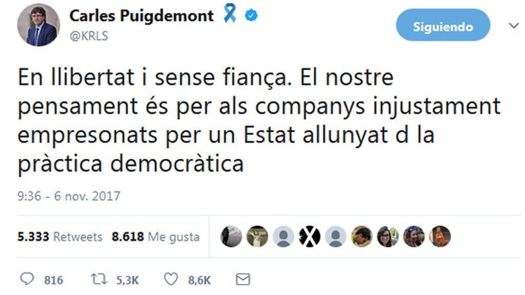 """Carles Puigdemont: """" En libertad y sin fianza"""""""