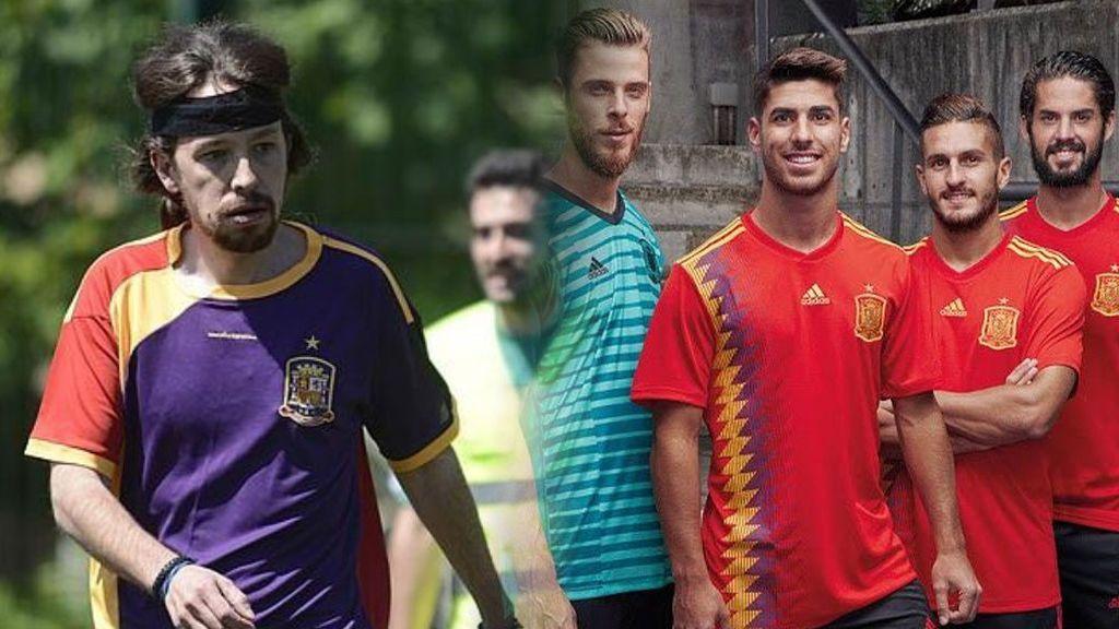 ¡Pablo Iglesias también se ha dado cuenta! La nueva camiseta de España parece republicana y a él le 'flipa'