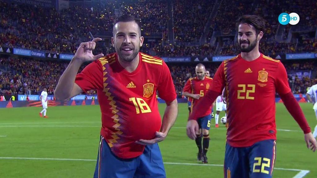 ¡Gol de Jordi Alba! El lateral abre la lata y celebra con dedicatoria muy especial (1-0)