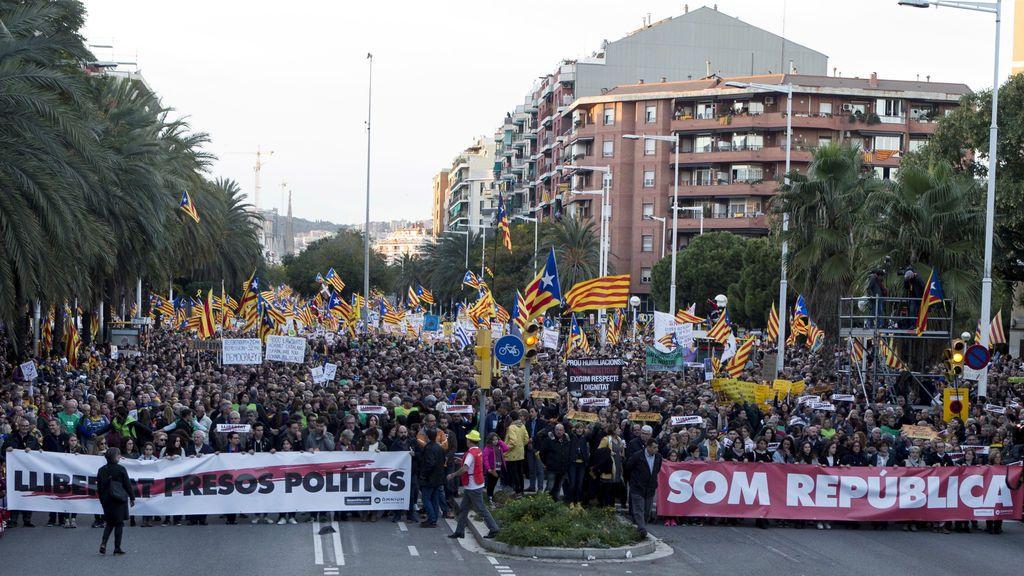 Manifestación en Barcelona para pedir la libertad de los presos políticos