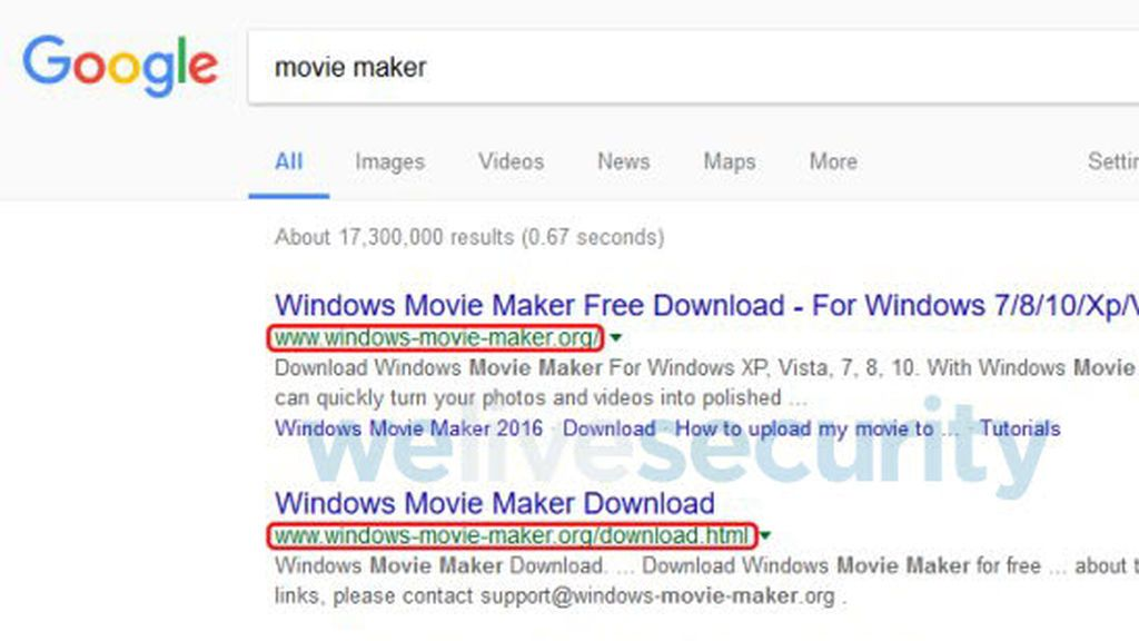 Una versión falsa de Windows Movie Maker