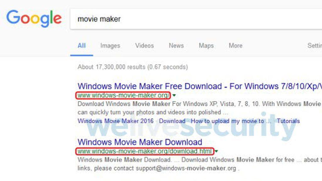 Una versión falsa de Windows Movie Maker