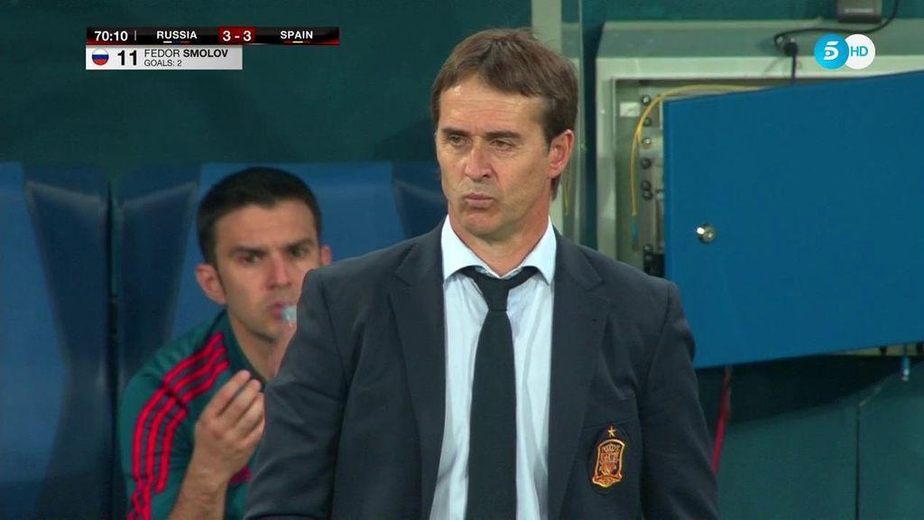 ¡Qué mosqueo! A Lopetegui le cambia el gesto con el empate de Rusia (3-3)