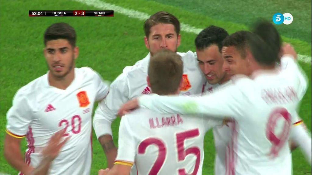 ¡Doblete de Ramos! El capitán de España engaña al portero en el segundo penalti y le deja haciendo la estatua