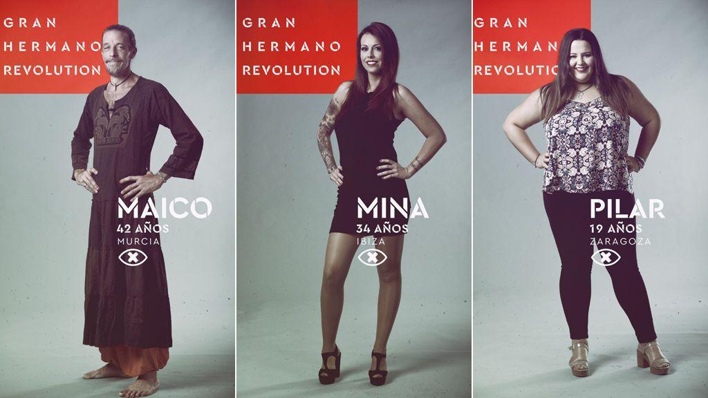 Maico, Mina y Pilar, concursantes nominados en la décima gala de 'Gran hermano revolution'.