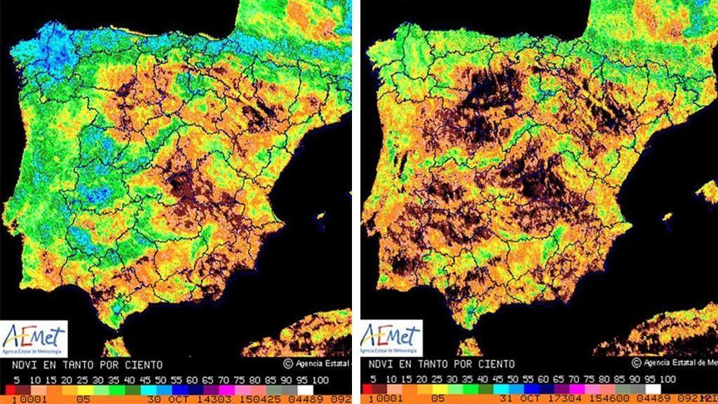 Mira las partes oscuras de este mapa: así ha avanzado la sequía en los últimos tres años