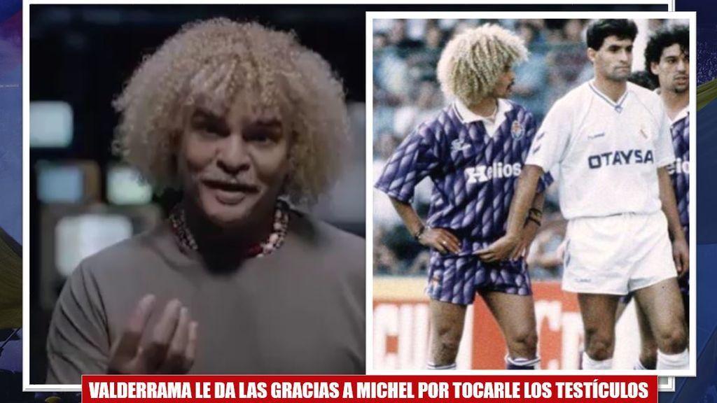 """""""Gracias por tocarme los huevos""""... Valderrama le agradece a Míchel su mítico 'encuentro' en una campaña contra el cáncer"""