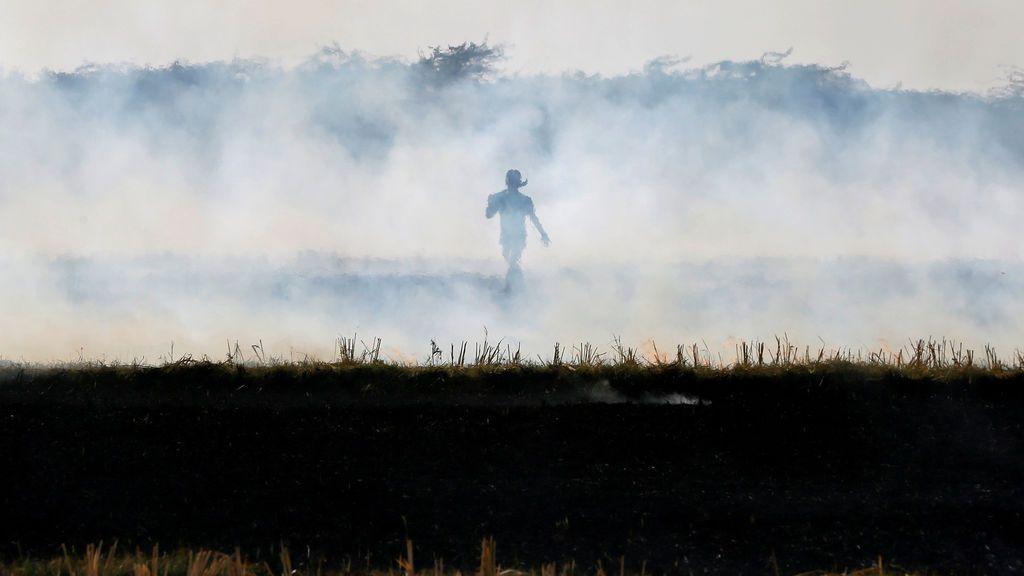Un granjero quema rastrojos de arroz en un campo en las afueras de Ahmedabad