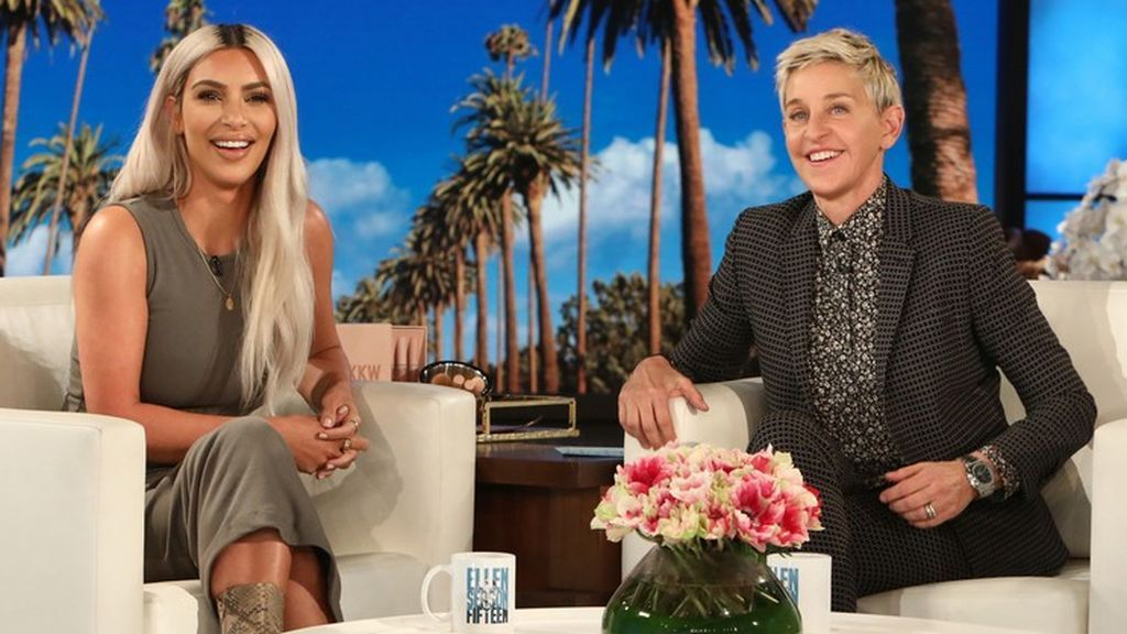 Kim Kardashian durante su visita al programa de Ellen DeGeneres.