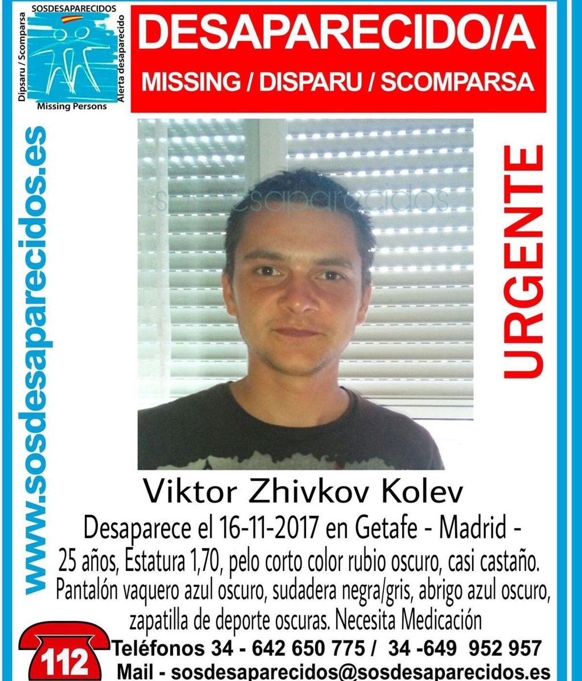 Buscan a un joven de 25 años desaparecido hace cuatro días en Getafe