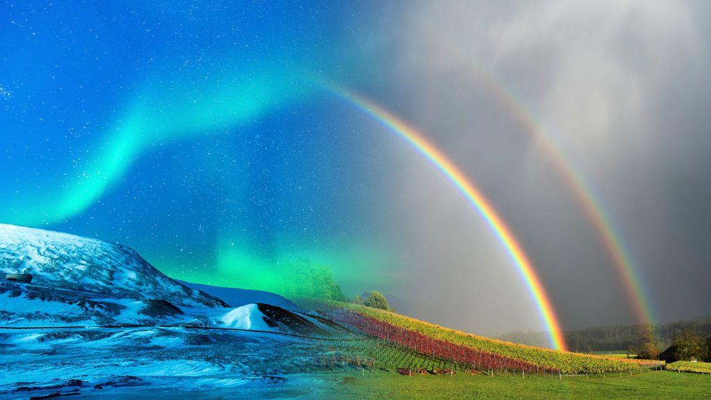 Maravilla celeste: una aurora boreal y un doble arco iris en la misma imagen
