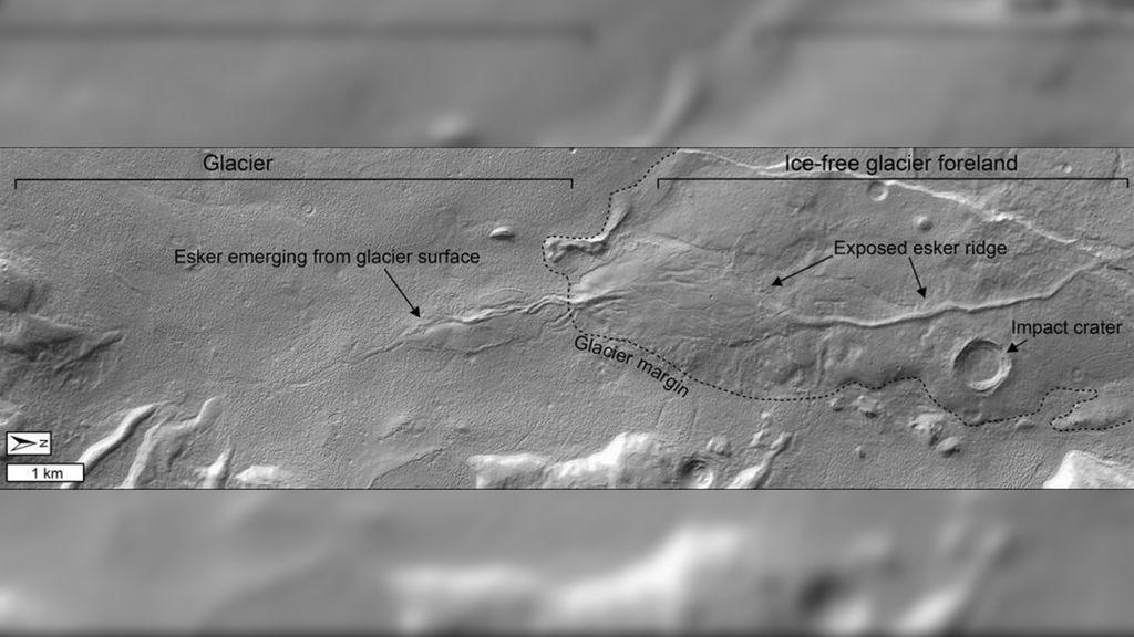 Encuentran evidencias de agua de deshielo en el pasado reciente de Marte