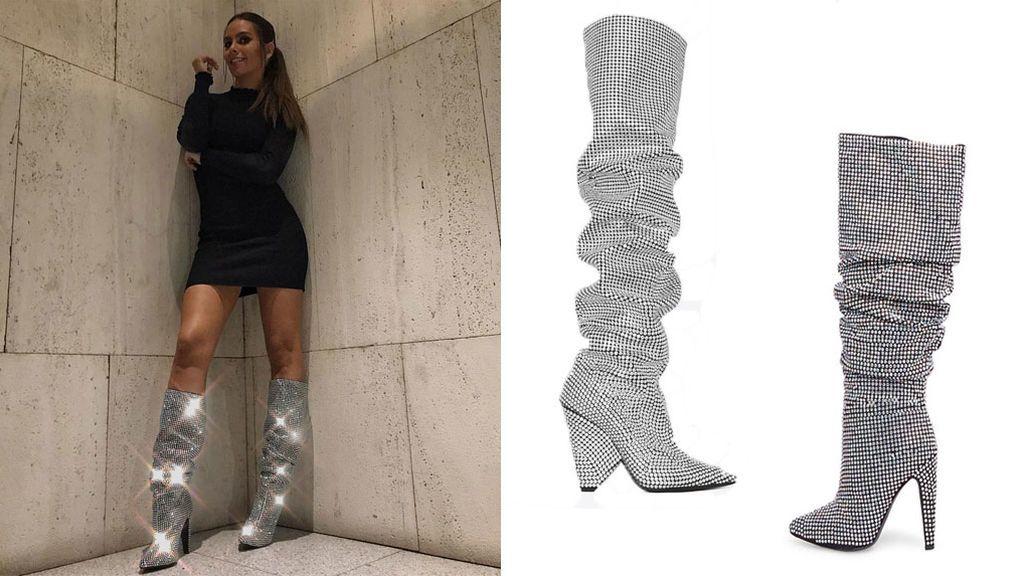 fusible Cumplir Mucho bien bueno  Cristina Pedroche ya tiene la versión low cost de las botas brillantes de  Yves Saint Laurent